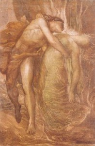 Eurydice in Orpheus' arms, reminds me of the images of Lancelot holding The Lady of Shalott.