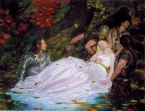 The Lady of Shalott in Lancelot's arms.