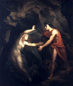 Orpheus looks at Eurydice and she is taken back to the Underworld.